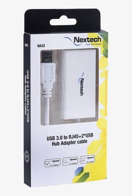 Nextech NA32 USB 3.0 to RJ45 and 2 USB Hub Adapter (White)