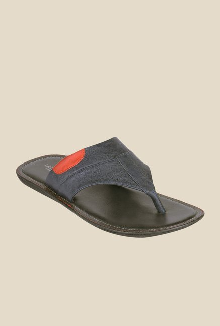 Khadim's Lazard Navy & Black Thong Sandals
