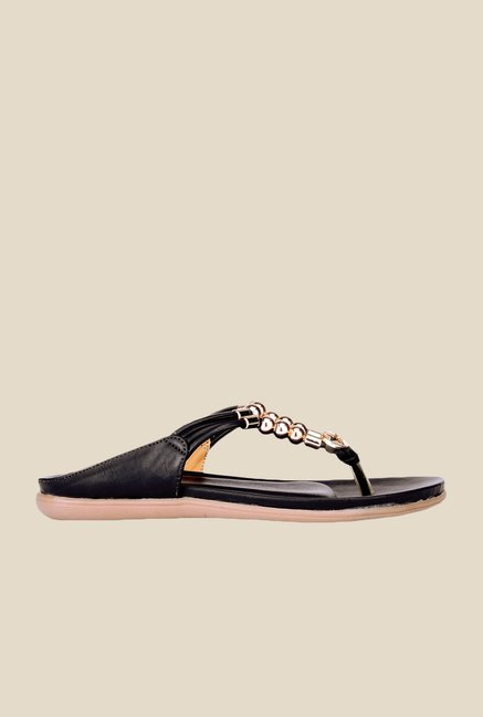 Khadim's Cleo Black & Golden T-Strap Sandals