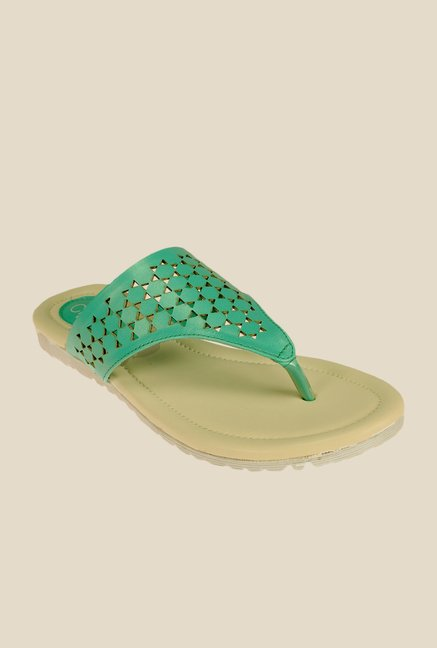 Khadim's Cleo Green Thong Sandals