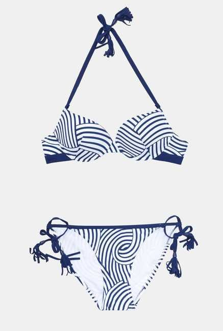 Infinity Lingerie Blue & White Striped Carmelo Swimsuit