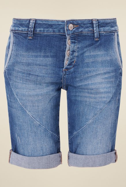 s.Oliver Blue Solid Shorts