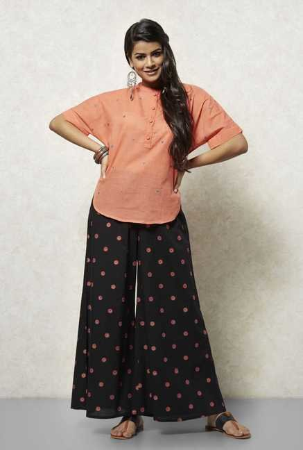 Okhai Peach Embroidered Kurti