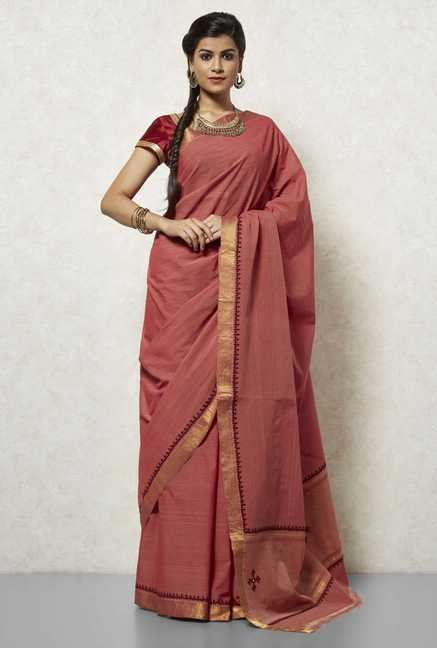 Okhai Pink Mangalgiri Cotton Saree