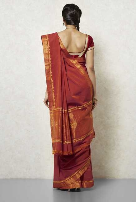 Okhai Rust Mangalgiri Cotton Saree