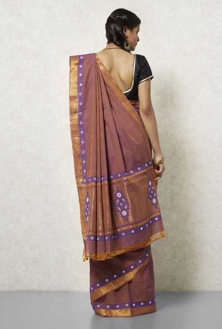 Okhai Copper & Blue Embroidered Saree