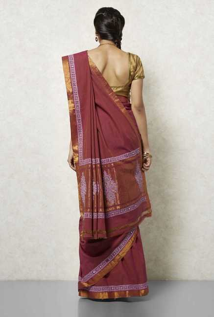 Okhai Dark Pink Embroidered Saree
