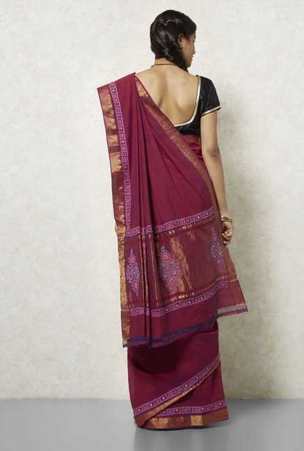 Okhai Purple Mangalgiri Cotton Saree