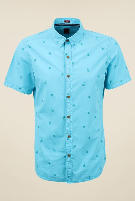 s.Oliver Blue Printed Shirt