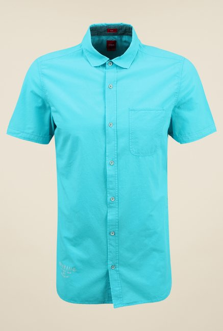 s.Oliver Turquoise Solid Shirt