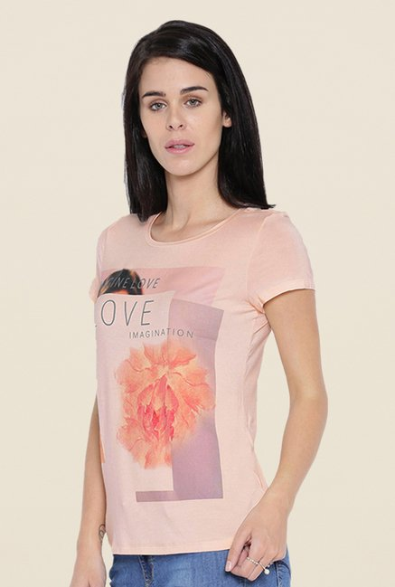 Kraus Peach Printed T-shirt