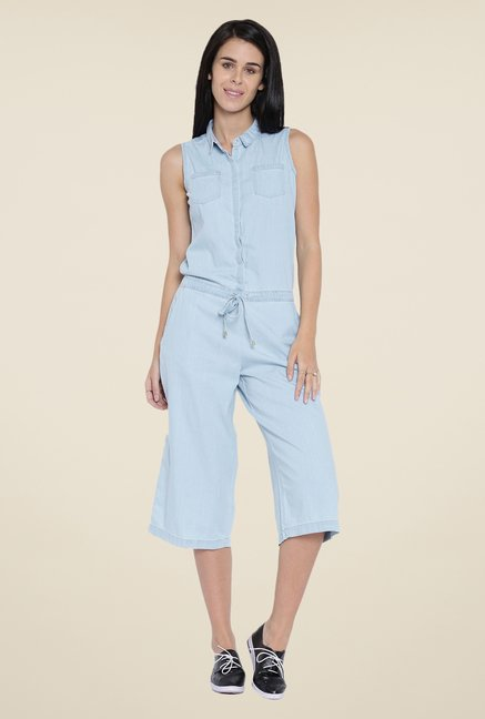 Kraus Light Blue Solid Jumpsuit