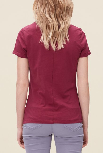 s.Oliver Maroon Printed T Shirt