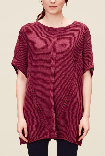 s.Oliver Maroon Round Neck Poncho Top