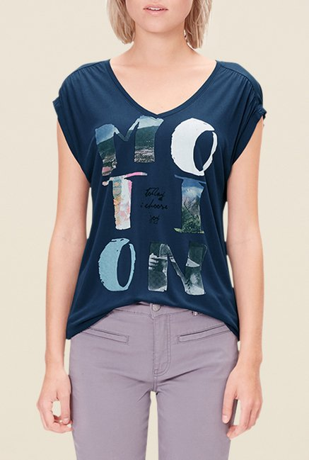 s.Oliver Navy Printed T Shirt