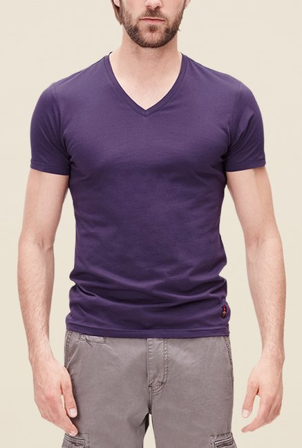 s.Oliver Purple Solid Short Sleeve T Shirt
