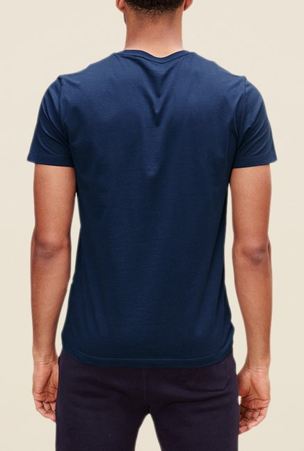 s.Oliver Navy Printed Cotton T Shirt