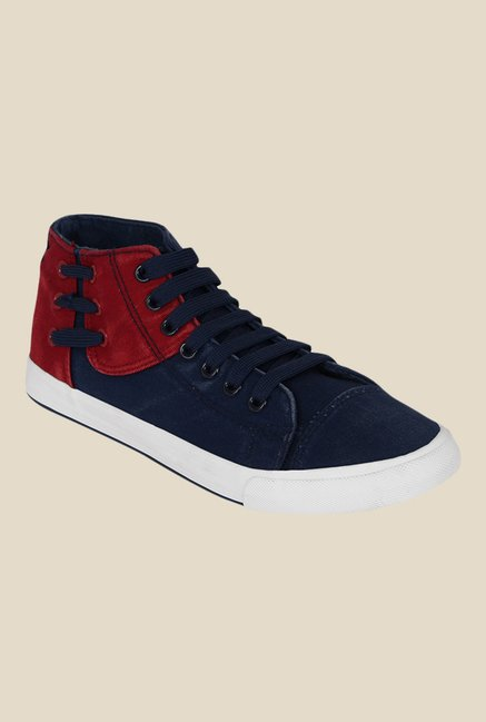 Kielz Navy & Red Ankle High Sneakers