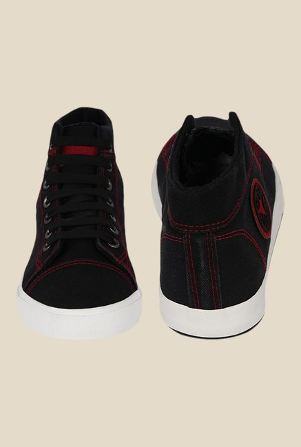 Kielz Black & White Ankle High Sneakers