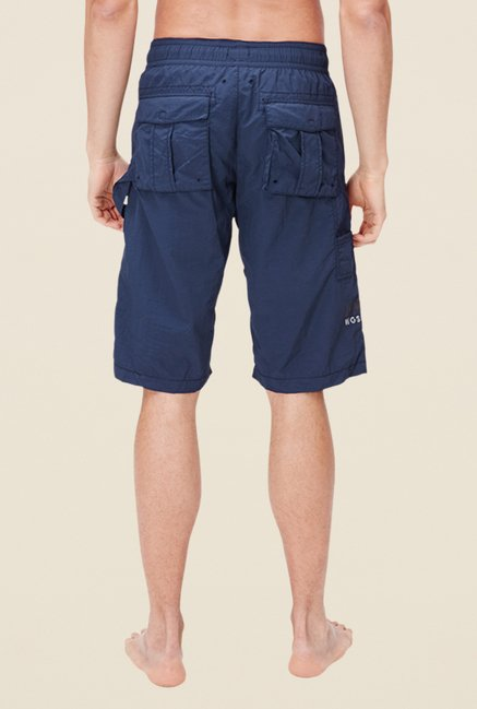 s.Oliver Navy Solid Regular Fit Shorts
