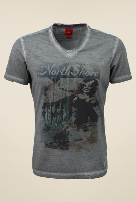 s.Oliver Grey Printed Slim Fit T Shirt