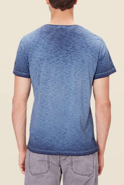 s.Oliver Blue Printed Cotton T Shirt
