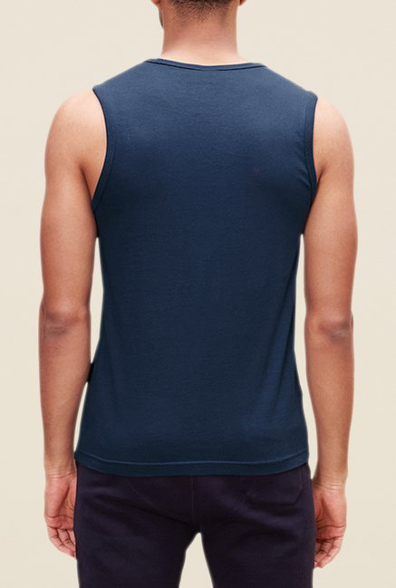 s.Oliver Blue Printed Slim Fit T Shirt