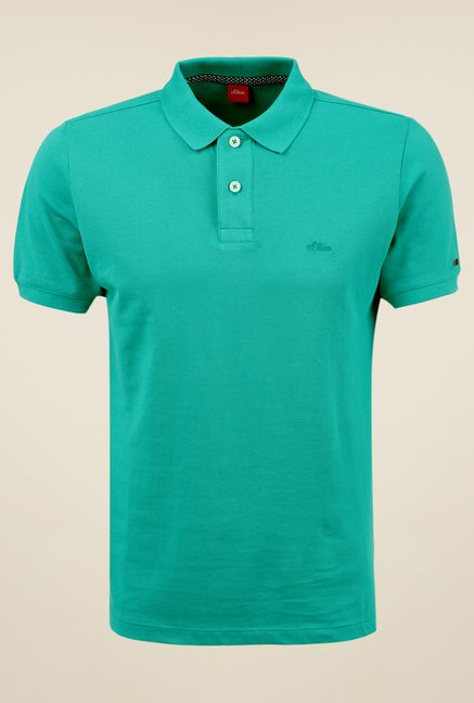 s.Oliver Green Solid T Shirt