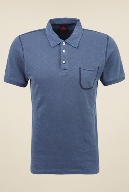 s.Oliver Navy Solid T Shirt
