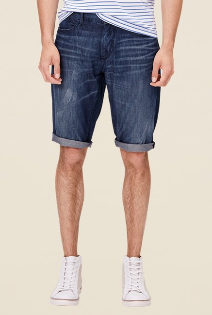 s.Oliver Blue Solid Comfort Fit Shorts