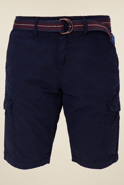 s.Oliver Navy Solid Shorts
