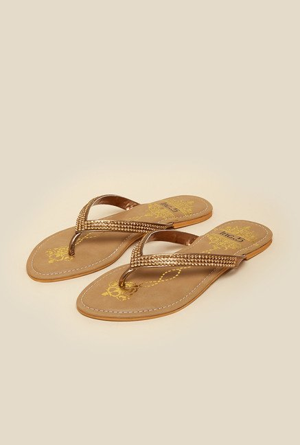 0b968f156200 Buy Inc.5 Antique Gold Thong Sandals Online at best price at TataCLiQ