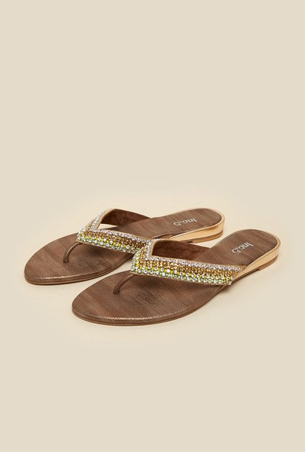 368247f4a Buy Inc.5 Antique Gold Thong Sandals Online at best price at TataCLiQ