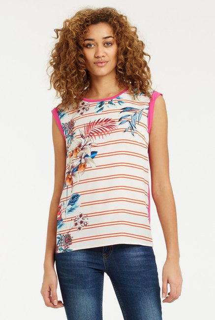 Oasis Off White Floral Print T Shirt