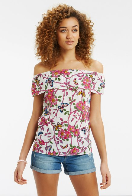 Oasis White Floral Print Top