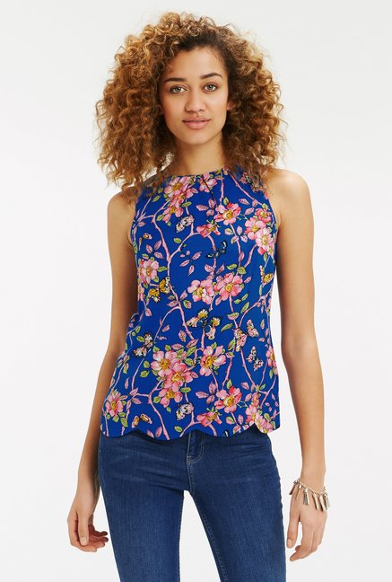 Oasis Blue Floral Print Top