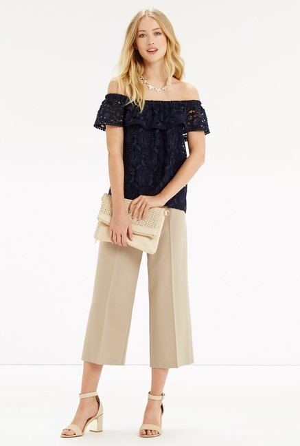 Oasis Navy Lace Top