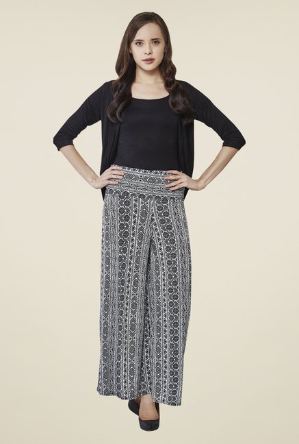 AND Black Printed Palazzos