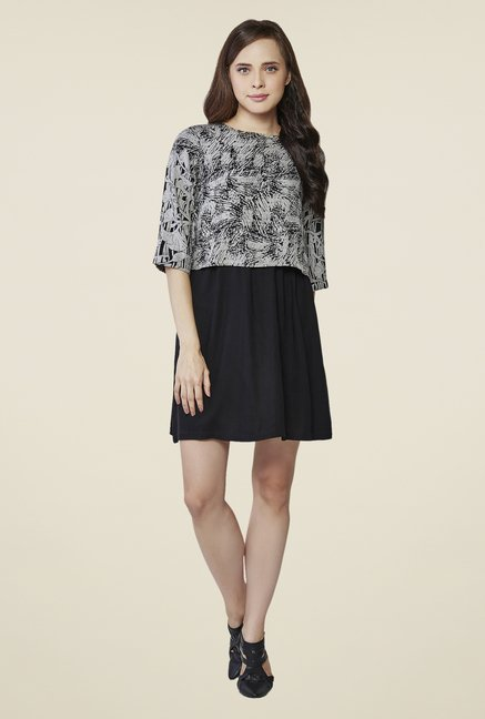 AND Grey & Black Printed Round Neck Dress