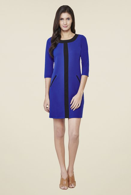AND Blue Solid Round Neck Dress