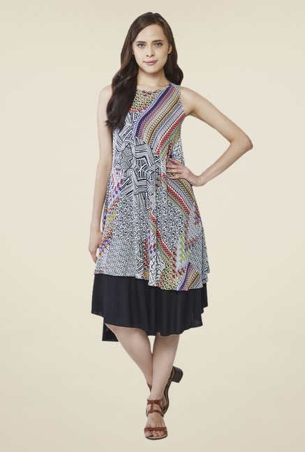 AND Multicolor Printed Round Neck Dress