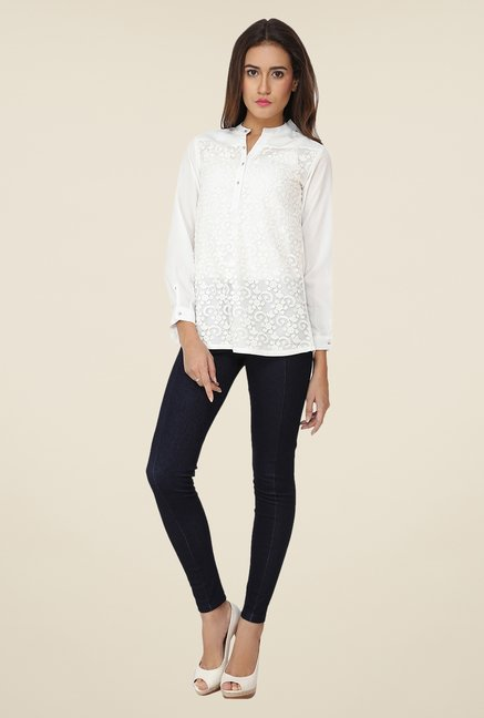 Soie White Lace Top