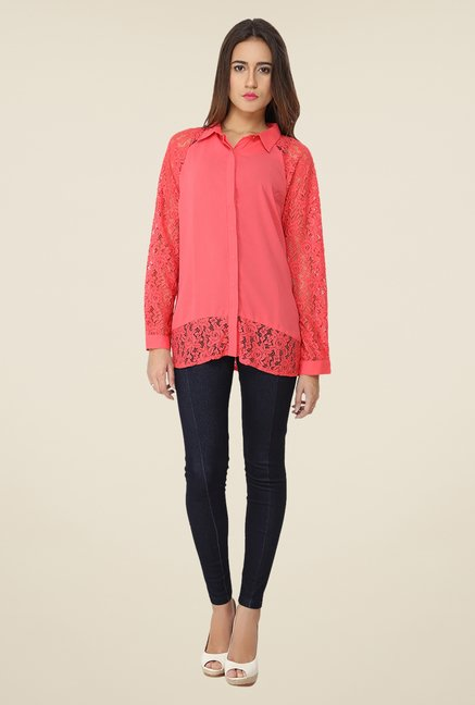 Soie Coral Lace Top