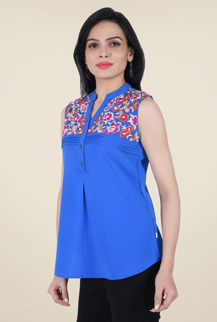 Juniper Blue Embroidered Top