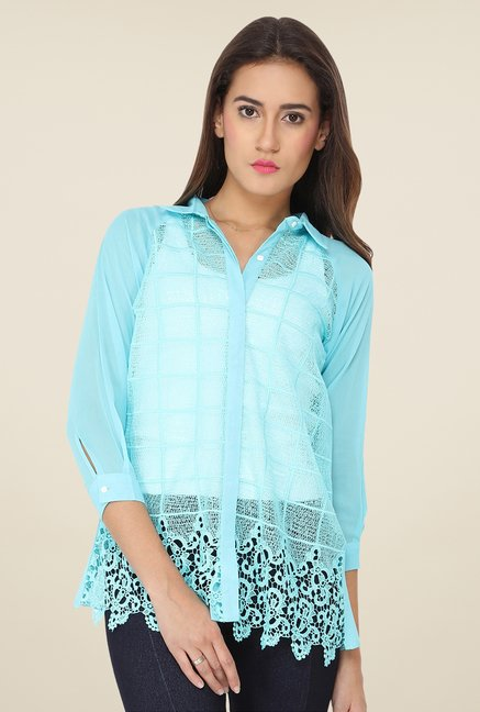 Soie Aqua Lace Top