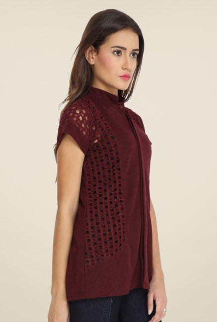 Soie Maroon Lace Top