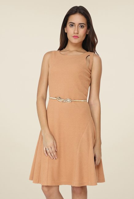 Soie Beige Solid Dress