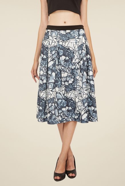 Soie Grey Printed Flared Skirt