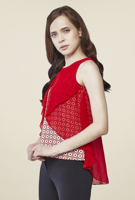 AND Red Printed Top