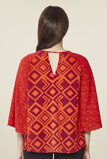 AND Orange Printed Top